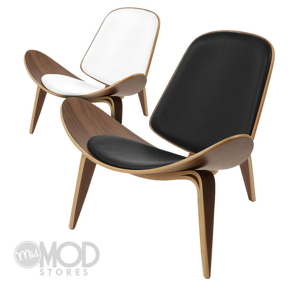 Mid century danish shell chair modern accent plywood for Mid century modern leather chairs