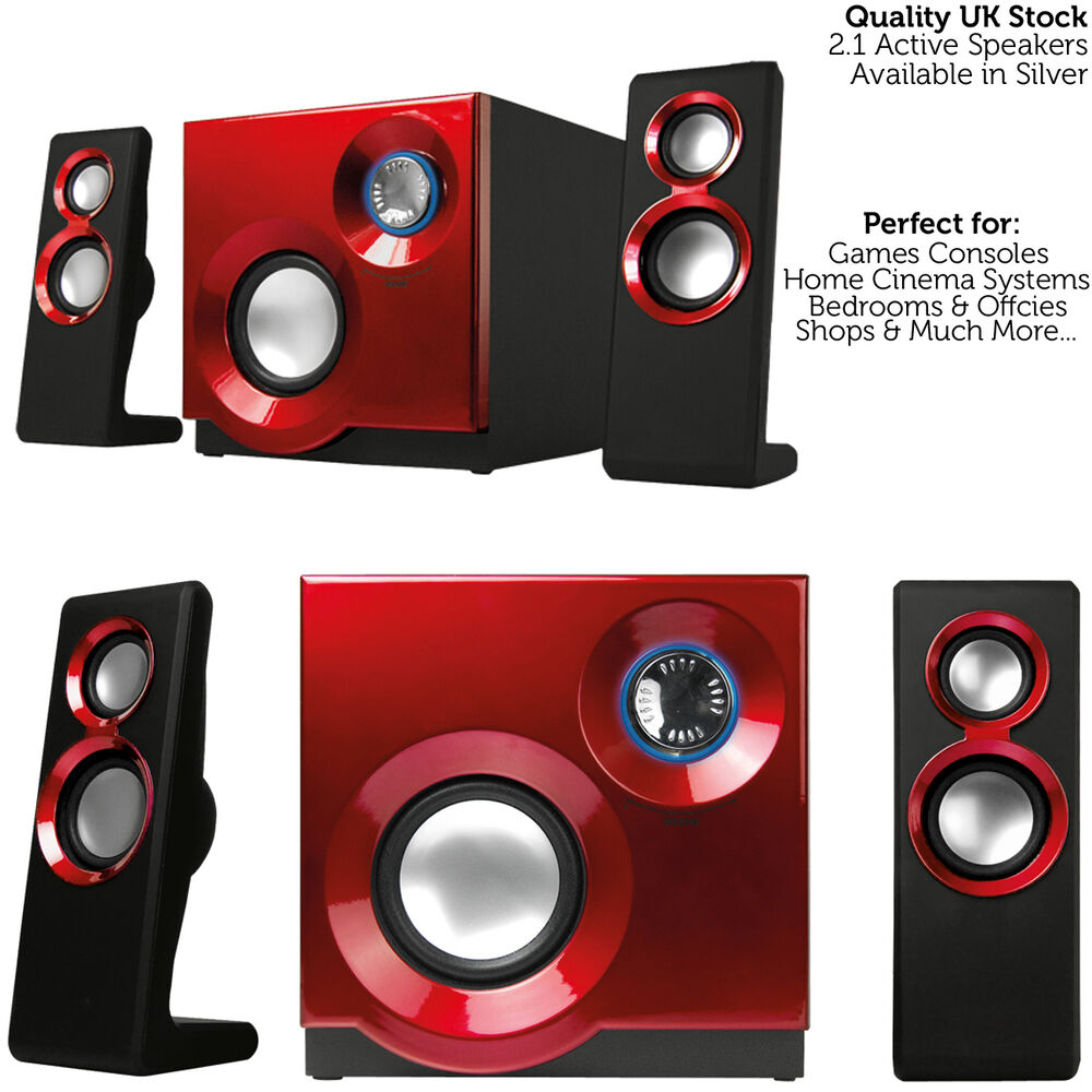 quality 2 1 compact surround sound gaming speaker system. Black Bedroom Furniture Sets. Home Design Ideas