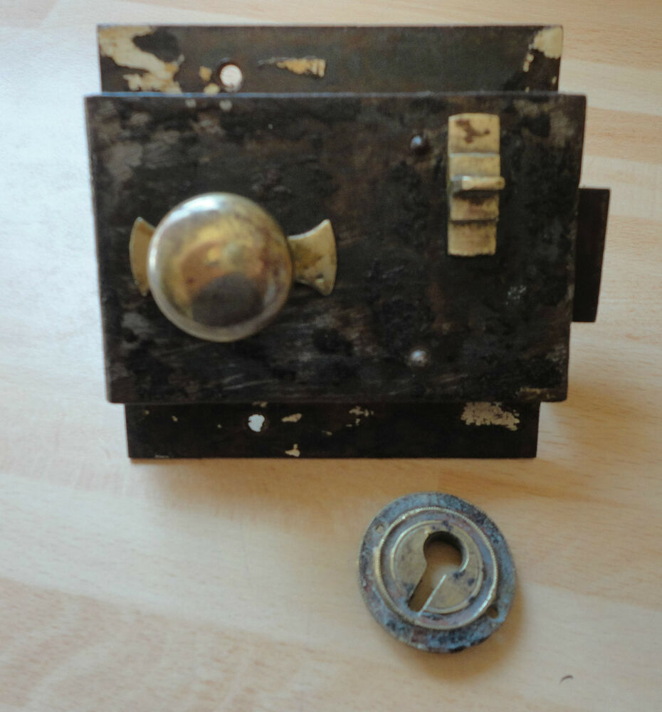 Antique Victorian Door Rim Lock With Brass Slide Latch Ebay