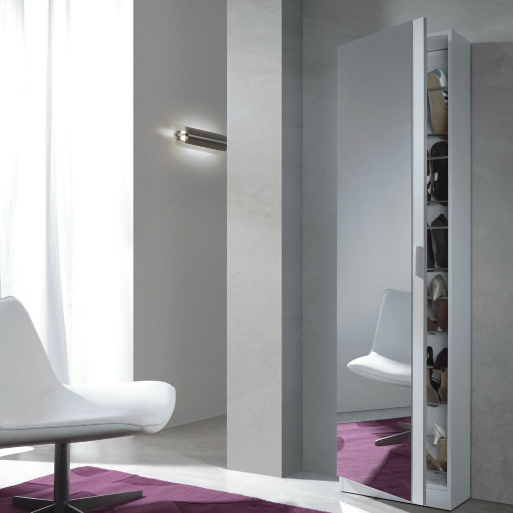 With Full Length Wall Mirror Storage : Angelo Tall Shoe Storage Cabinet Full Length Mirror Door Gloss Wall ...