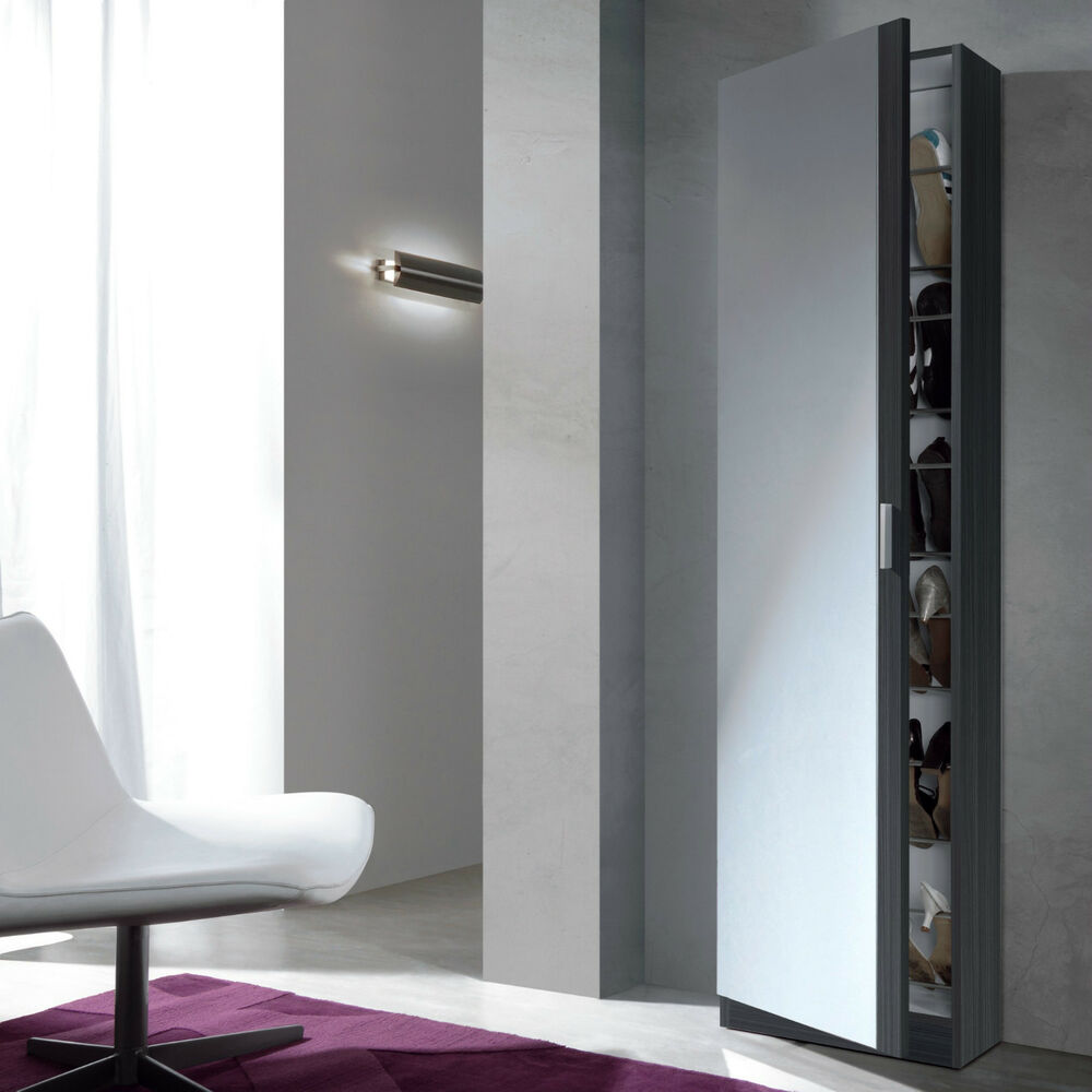 Angelo Tall Slim Shoe Storage Cabinet Mirrored Door Grey