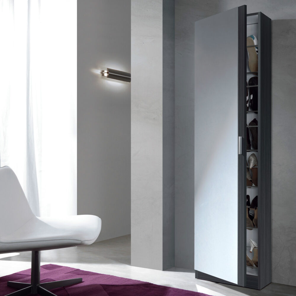 Angelo tall slim shoe storage cabinet mirrored door grey for Tall slim mirror