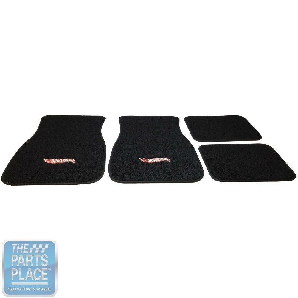 1964-77 GM Cars Black Floor Mats With Hot Wheels Logo