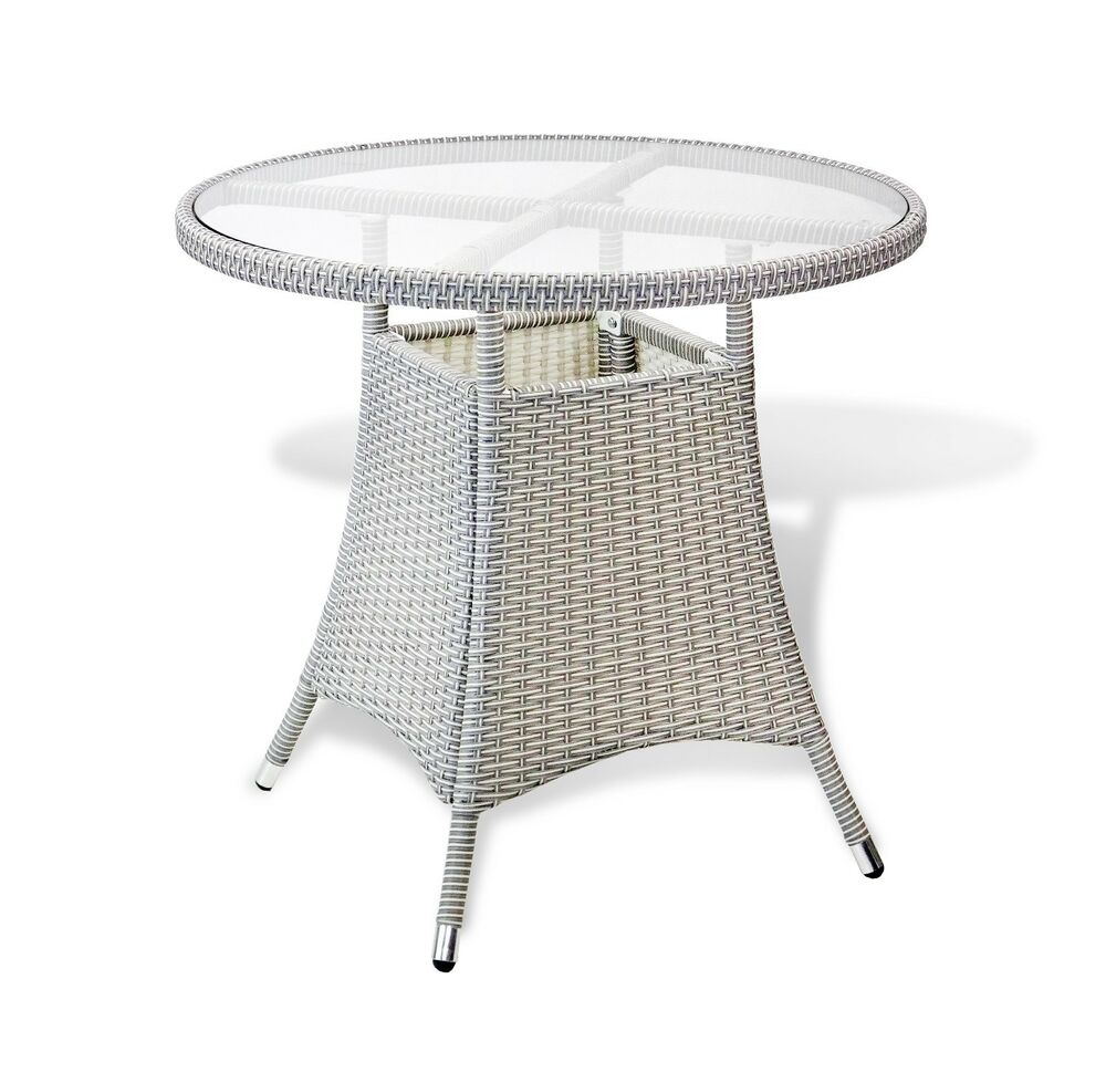 Small Grey Rattan Coffee Table: Outdoor Living Resin Wicker Patio Gray Round Dining Table