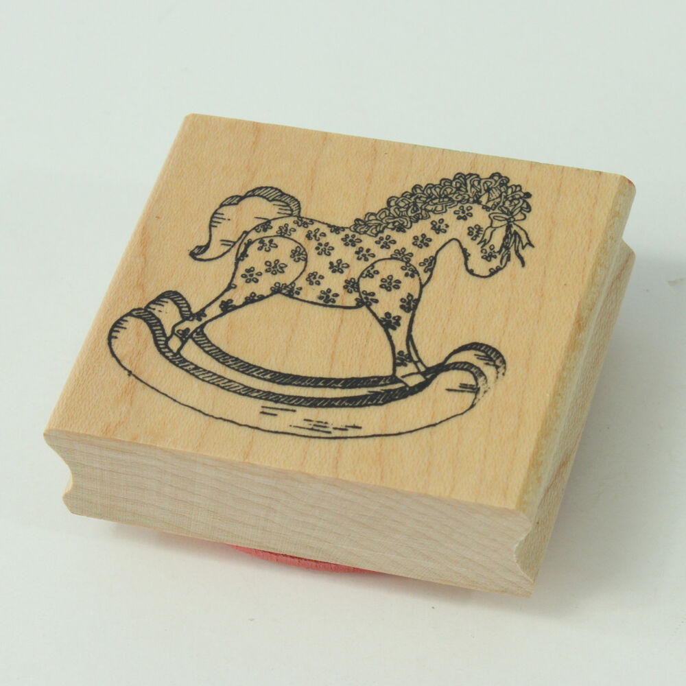 Provo craft rocking horse wood mounted rubber stamp 1991 for Custom craft rubber stamps