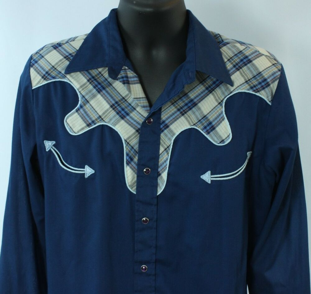 Vtg Wrangler Plaid Snap Shirt 16 16 5 Large Arrow Pocket