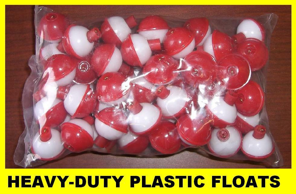 50 fishing bobbers round floats 1 1 2 red white snap on for Fishing bobbers bulk