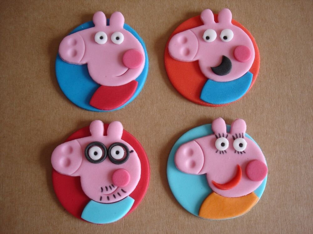 Peppa Pig family cupcake toppers x 4 | eBay