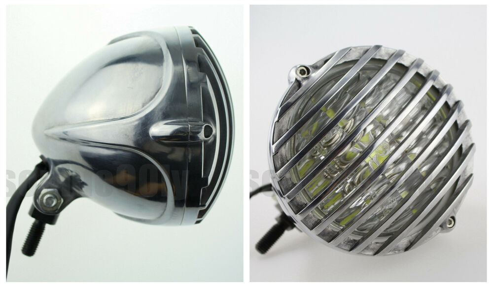 Cafe Racer Headlight Assembly : Polished vintage scalloped headlight grill cafe racer