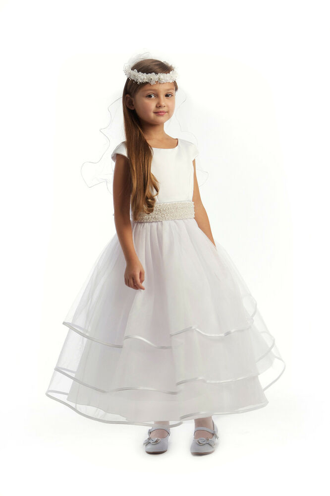 First Communion White Flower Girl Dress Cap Sleeved ...