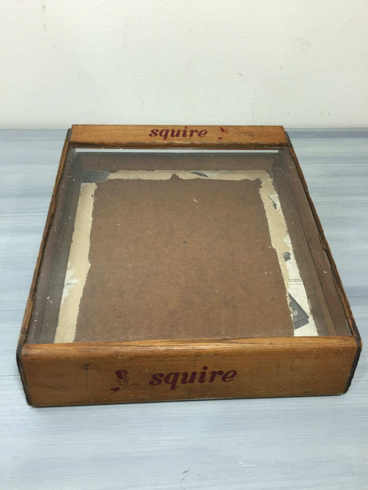 Antique Vintage Squire Cigars Advertising Display Glass