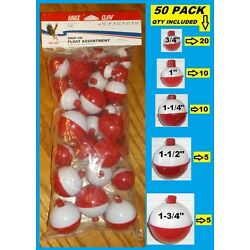 Kyпить 50 ASSORTED FISHING BOBBERS Round Floats RED & WHITE! SNAP ON FLOAT ASSORTMENT  на еВаy.соm