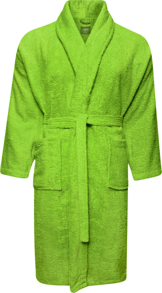 100 Cotton Terry Towelling Shawl Collar Lime Green