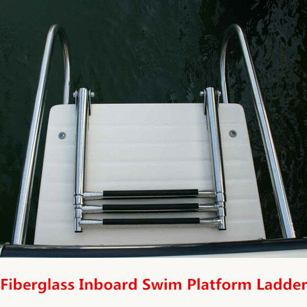 Fiberglass Boat Swim Platform Ladder Stainless 2 Rails 3