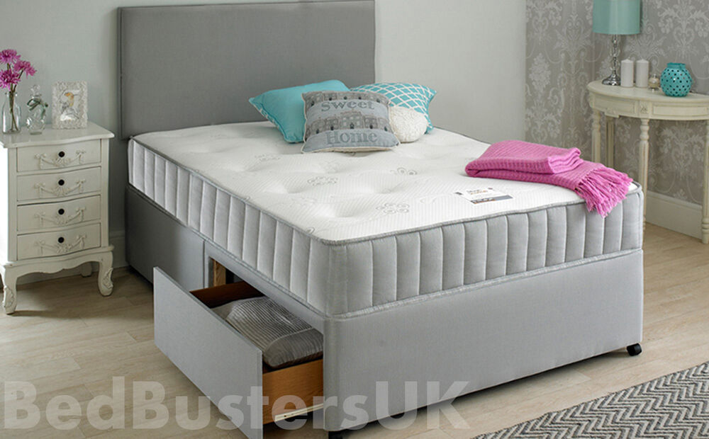 Grey fabric divan bed set memory mattress headboard Three quarter divan bed