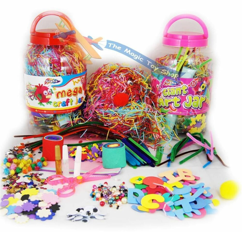 Childrens kids mega craft jar giant art set pom poms beads for Arts and crafts sets for kids