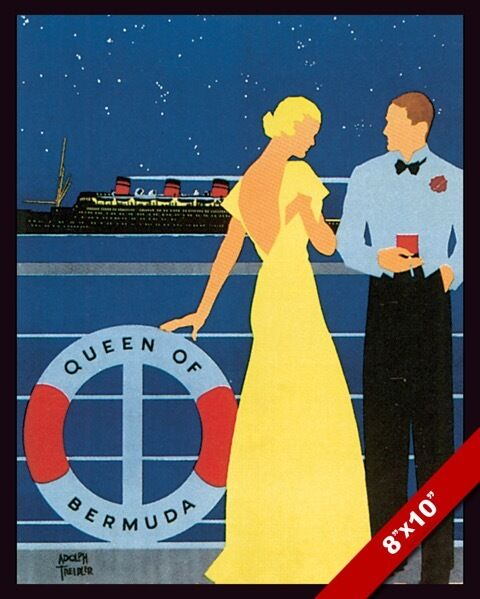 VINTAGE QUEEN OF BERMUDA CRUISE SHIP TRAVEL AD POSTER ART
