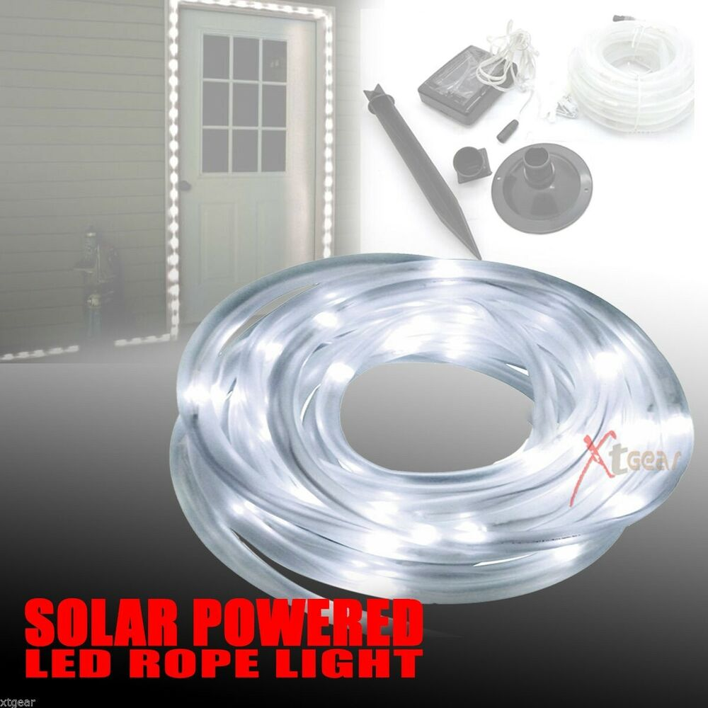 Long Solar Rope Light 50 Bright White LED Lamps Indoor Outdoor L