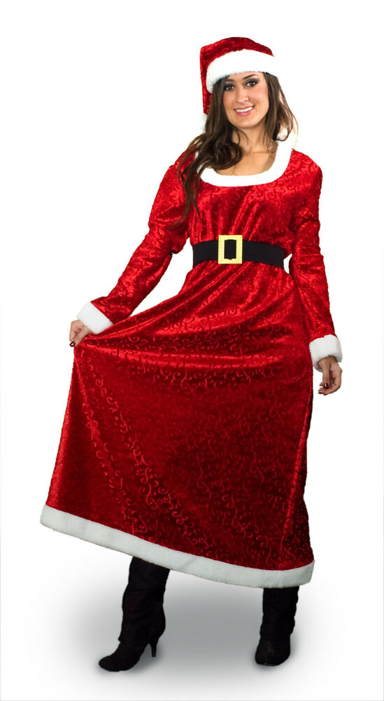 Red christmas miss mrs santa claus female costume gown
