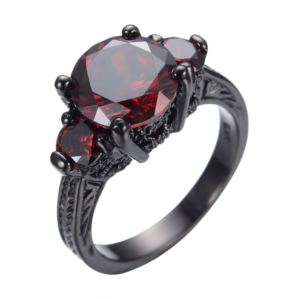 Size 6 10 Red Garnet Ruby CZ Wedding Ring Women s Black Gold Filled Band