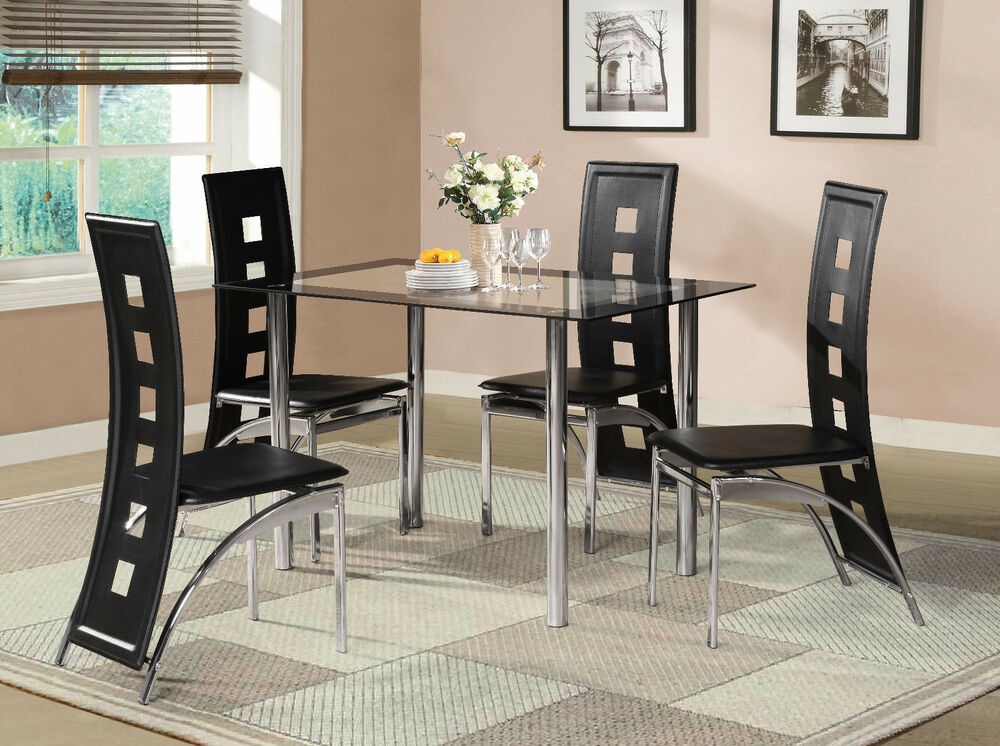 black glass dining room table set and with 4 or 6 faux elegant acrylic glass dining room table set and chairs