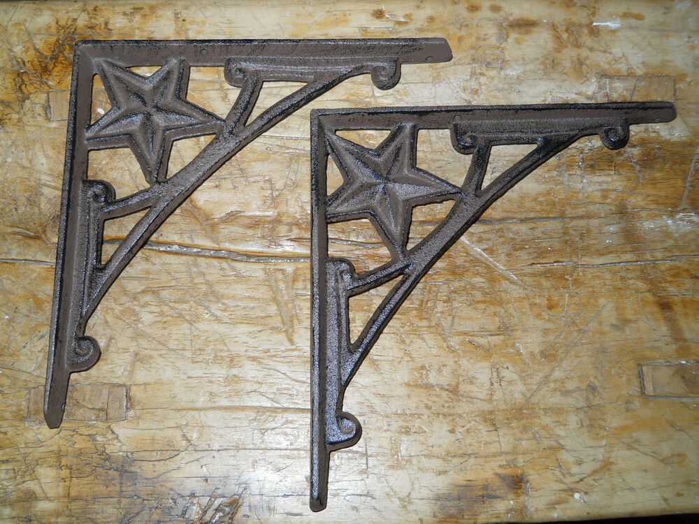 4 Cast Iron Antique Style HD Star Brackets, Garden Braces