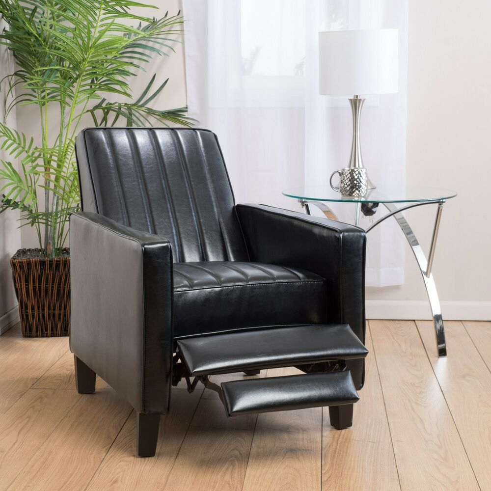 Living room furniture black bonded leather channel for Ebay living room chairs