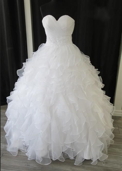 New white ivory organza ruffles wedding bridal dresses for Wedding dress rental utah