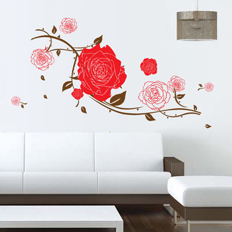 Romantic Red Rose Flower Removable Vinyl Decal Wall ...