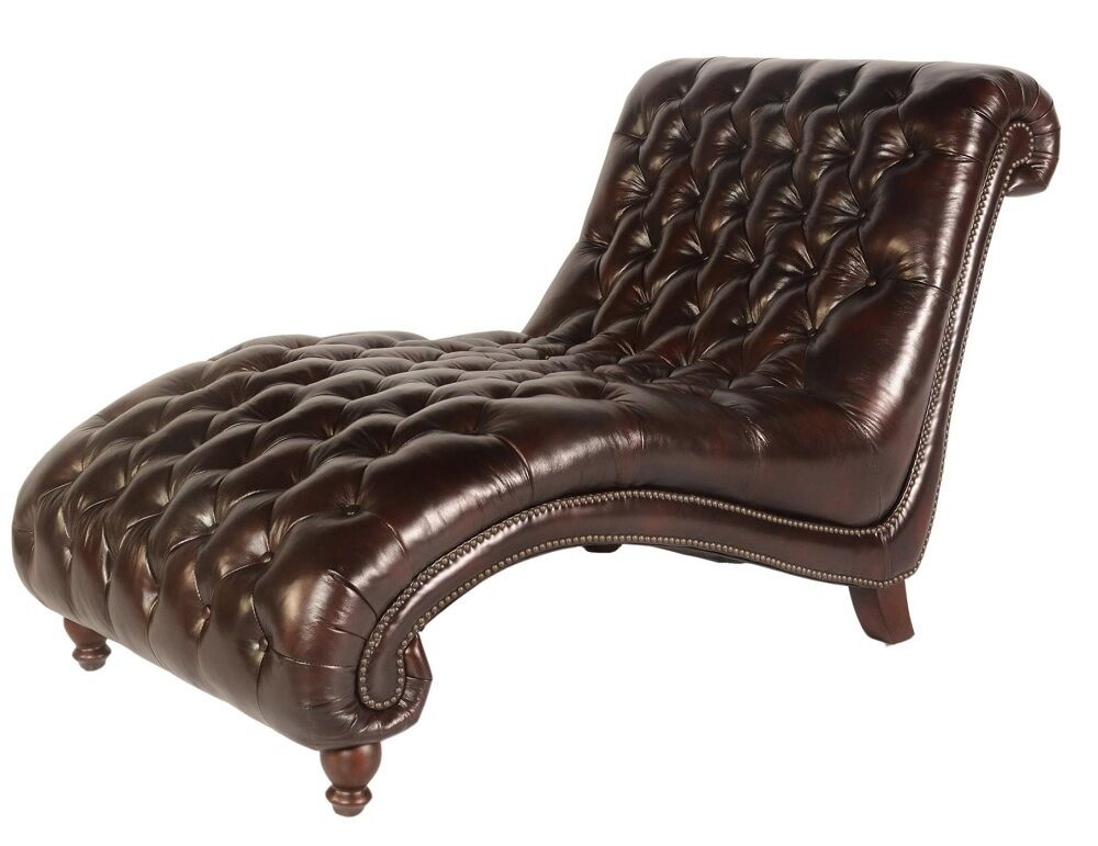68 w modern chaise lounge chair vintage brown soft for Brown leather sofa with chaise lounge