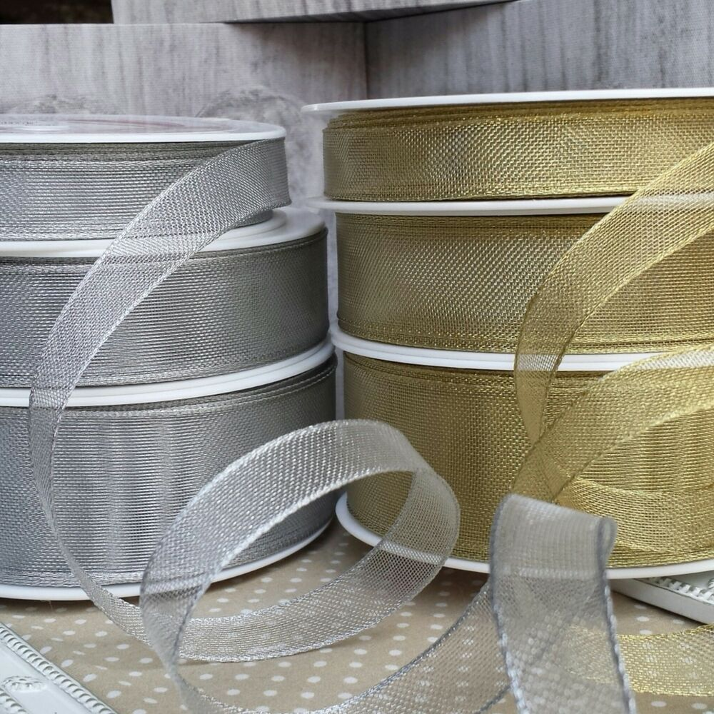 15 25 38mm gold or silver wired mesh ribbon wedding craft ebay
