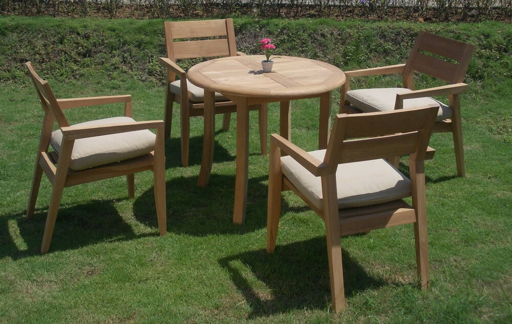 5 PC OUTDOOR DINING TEAK SET 36quot ROUND TABLE amp 4  : s l1000 from www.ebay.com size 1000 x 633 jpeg 155kB