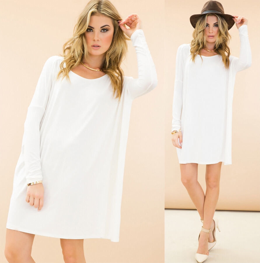 White long sleeve scoop neck piko bamboo oversized tunic for Is a tunic a dress or a shirt