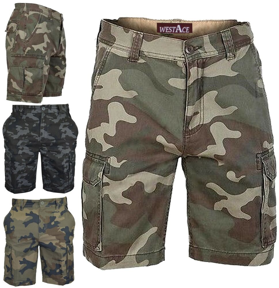 MENS ARMY CASUAL WORK CARGO COMBAT CAMOUFLAGE SHORTS ...