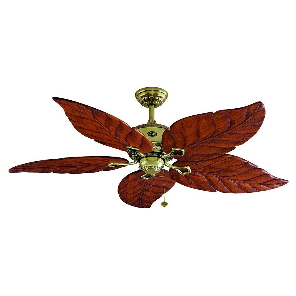 Hampton Bay Ceiling Fan, Carved Wood Leaf Blade