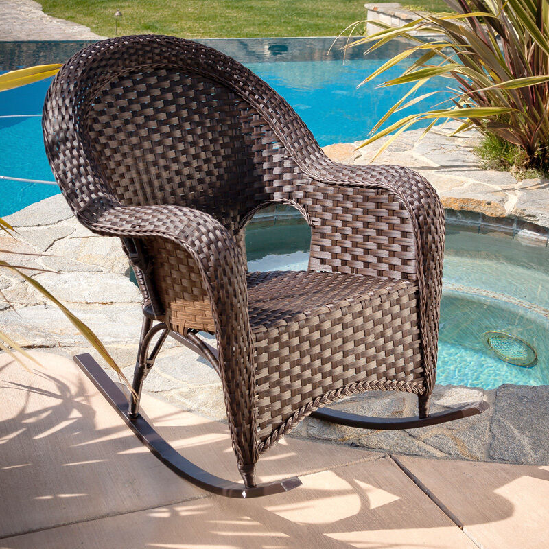 Outdoor patio furniture luxury brown wicker rocking chair for Fine outdoor furniture