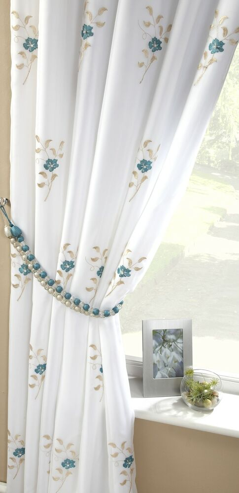 Teal Blue White Pearls Fully Lined Pencil Pleat Thick