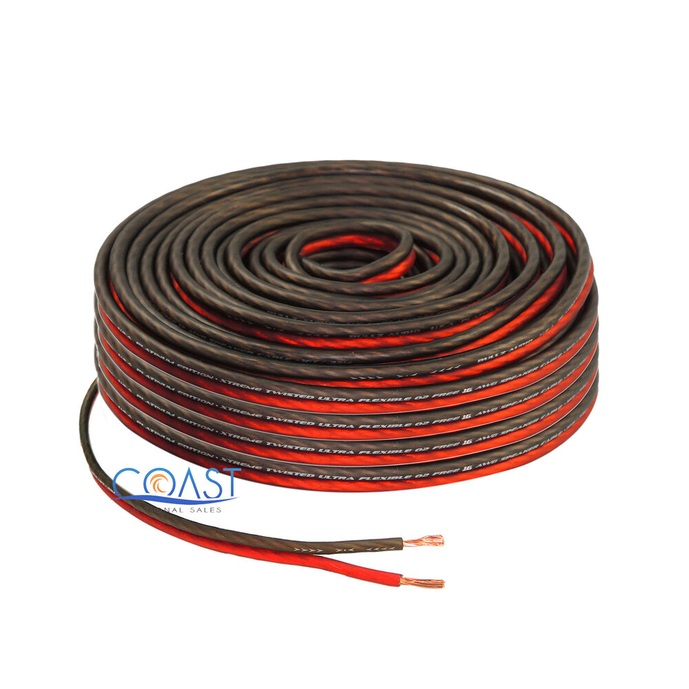 red 100 ft true 16 gauge awg car home audio speaker wire cable ebay. Black Bedroom Furniture Sets. Home Design Ideas