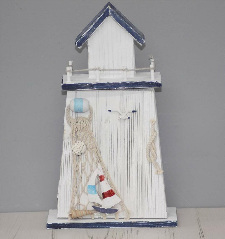 Wooden blue and white lighthouse nautical key rack for Nautical home decorations