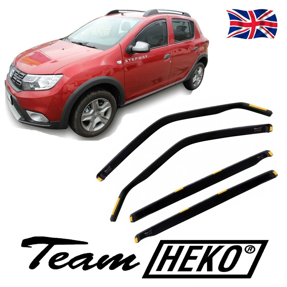 dda13113 wind deflectors dacia sandero stepway 2013 onwards 4 pc heko tinted ebay. Black Bedroom Furniture Sets. Home Design Ideas
