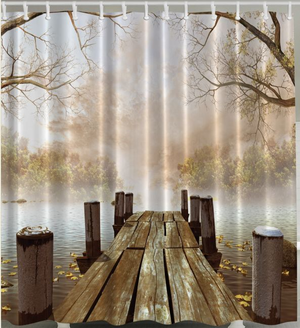 Fall Boat Dock SHOWER CURTAIN Fabric Wooden Bridge