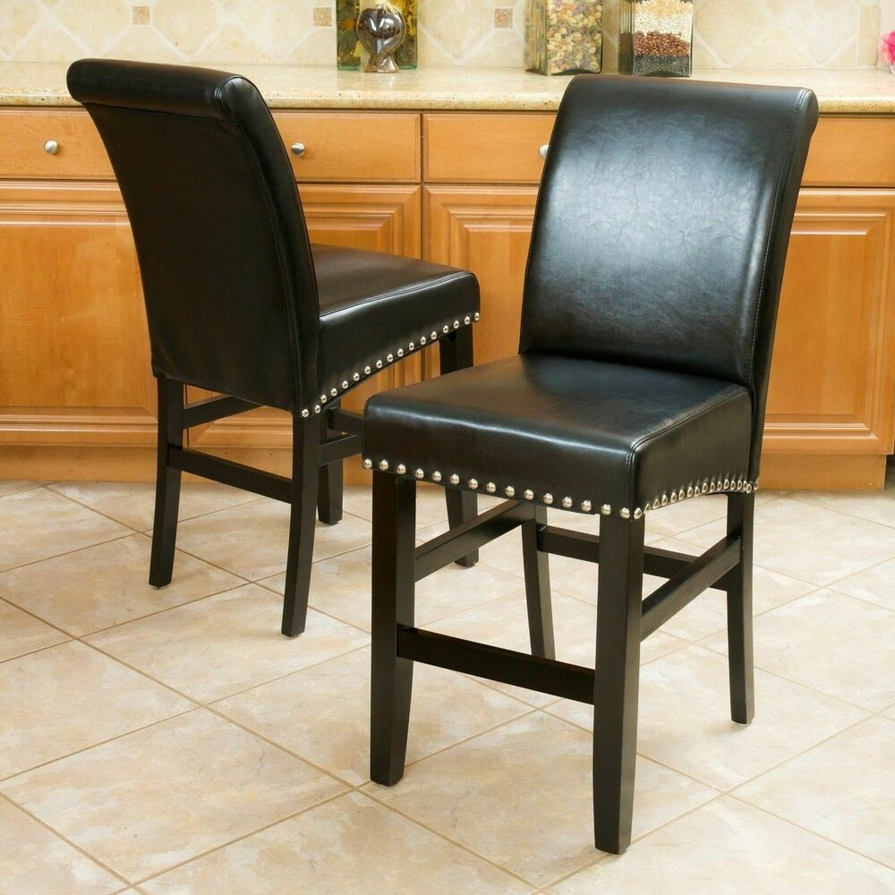 Set Of 2 Dining Room Black Leather Counter Stools W