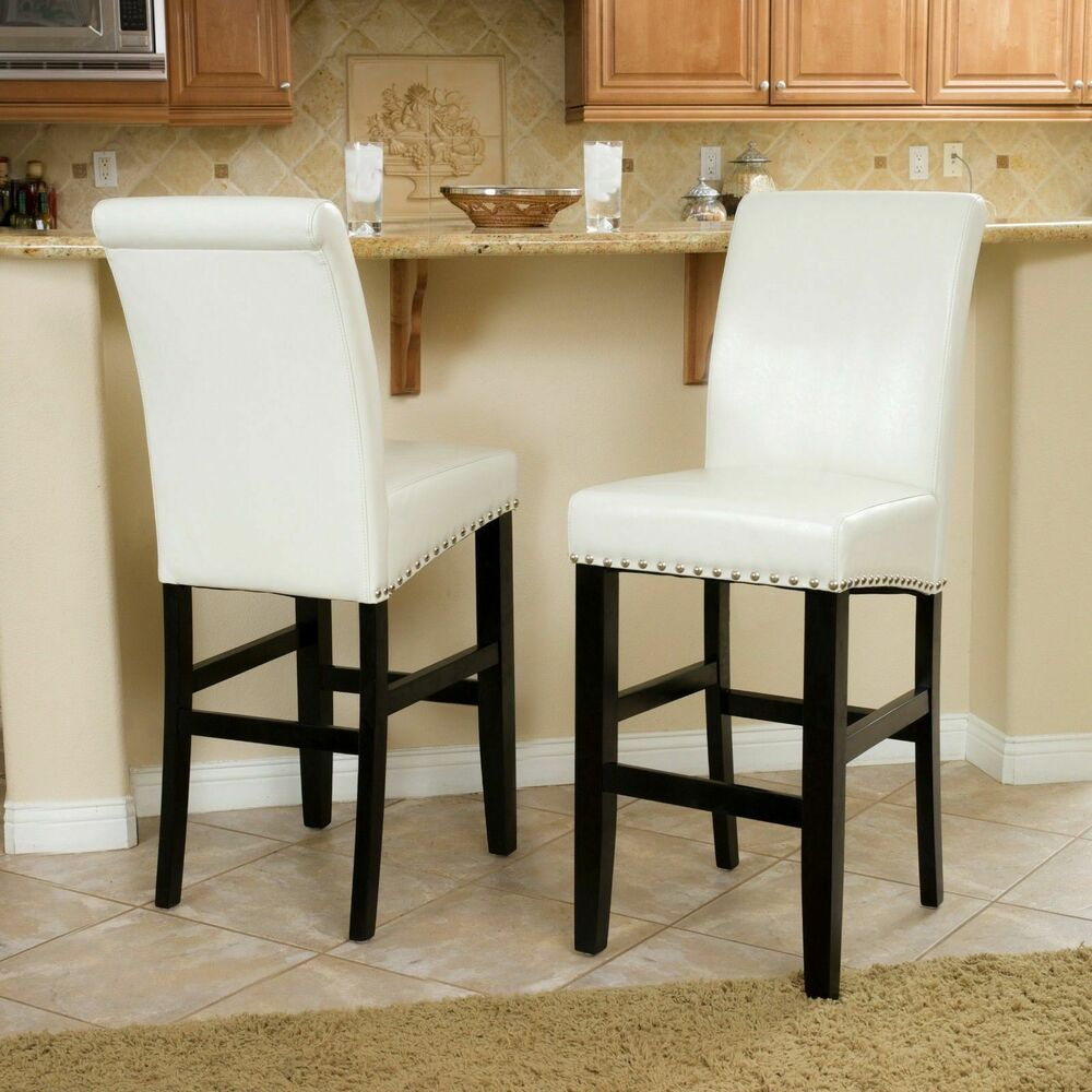 Set Of 2 Dining Room Ivory Leather Bar Stools W Nailhead