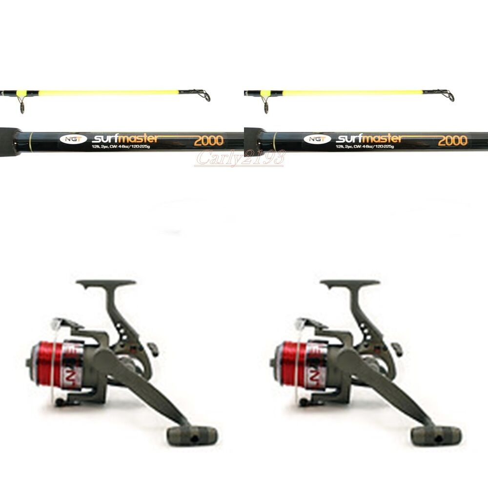 2 x 12 ft beachcaster sea fishing rods and reel kits line for Sea fishing rods