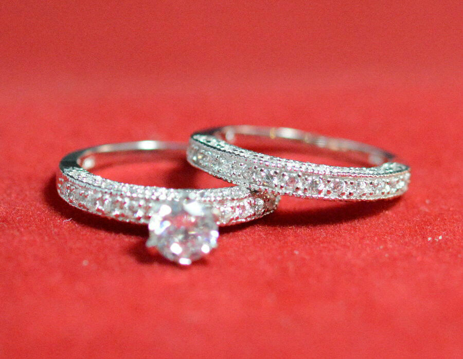 new 925 sterling silver vintage round cz engagement ring set ebay