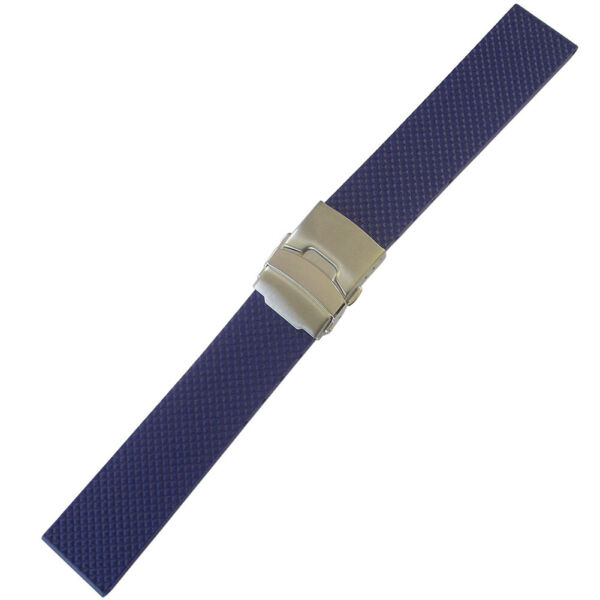 22mm Bonetto Cinturini Model 300D Blue Waffle Rubber Deployant Watch Band Strap