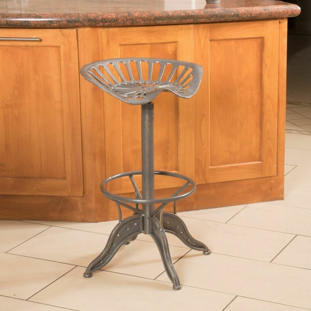 Industrial Wood Adjustable Seat Barstool High Chair: Industrial Metal Design Adjustable Height Swivel Tractor