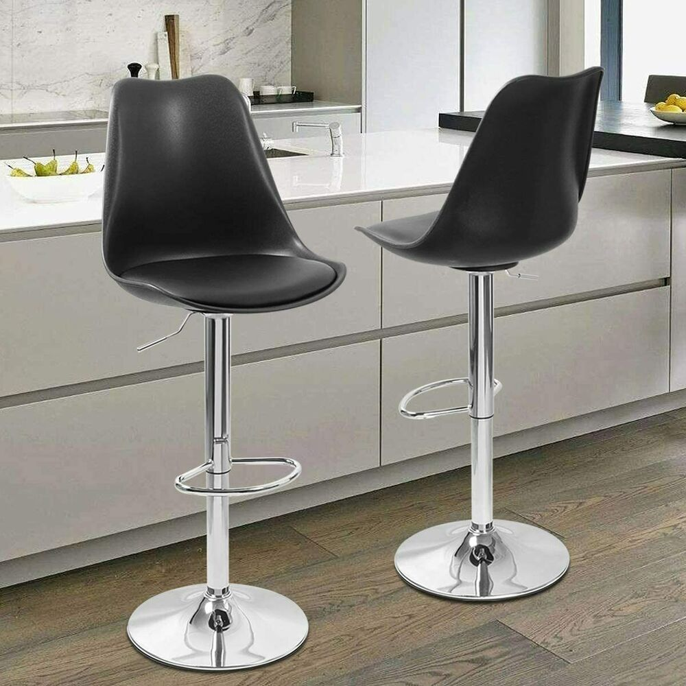 Set Of 2 Black Leather Bar Stools Swivel Dinning Counter