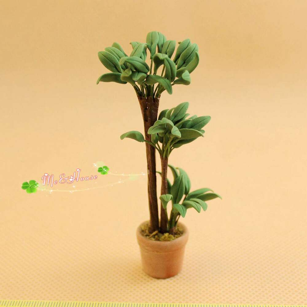 1 12 Dollhouse Miniature Potted Clay Plants Handcrafted