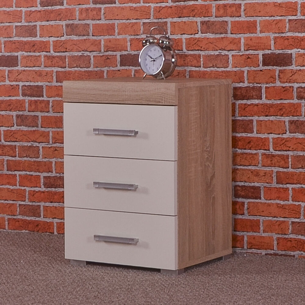 3 drawer white sonoma oak bedside cabinet table 3 draw for White bedroom cabinet